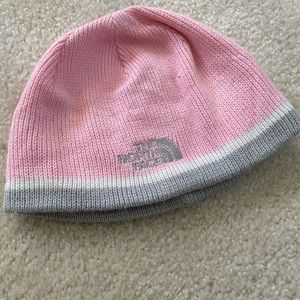 North Face Pink/Gray/White Beanie